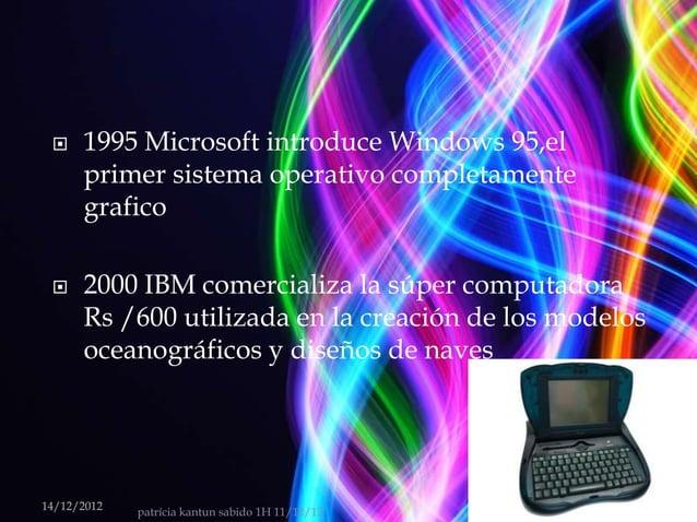    1995 Microsoft introduce Windows 95,el      primer sistema operativo completamente      grafico     2000 IBM comerci...