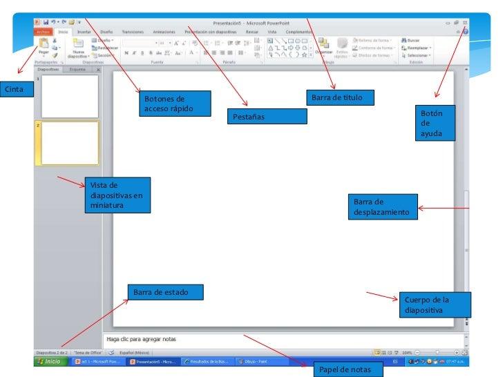 Cinta <br />Barra de titulo <br />Botones de acceso rápido <br />Botón de ayuda <br />Pestañas <br />Vista de diapositivas...