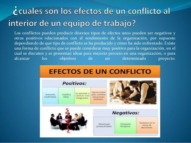 Los conflictos pueden producir diversos tipos de efectos unos pueden ser negativos y otros positivos relacionados con el r...