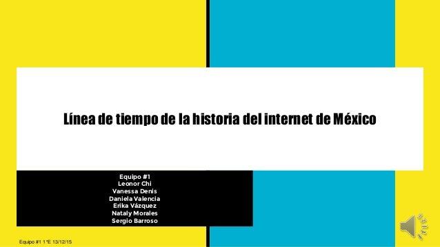 Línea de tiempo de la historia del internet de México Equipo #1 Leonor Chi Vanessa Denis Daniela Valencia Erika Vázquez Na...