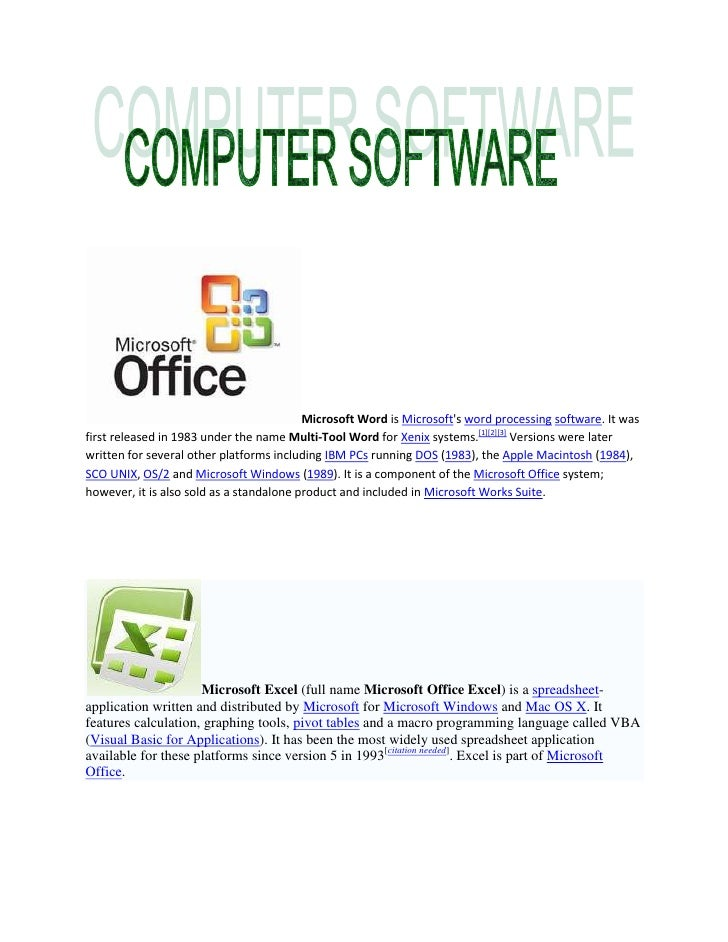 Microsoft Word is Microsoft's word processing software. It was first released in 1983 under the name Multi-Tool Word for X...