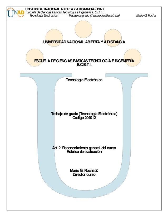 UNIVERSIDAD NACIONAL ABIERTA Y A DISTANCIA -UNAD Escuela de Ciencias Básicas Tecnología e Ingeniería E.C.B.T.I.  Tecnologí...
