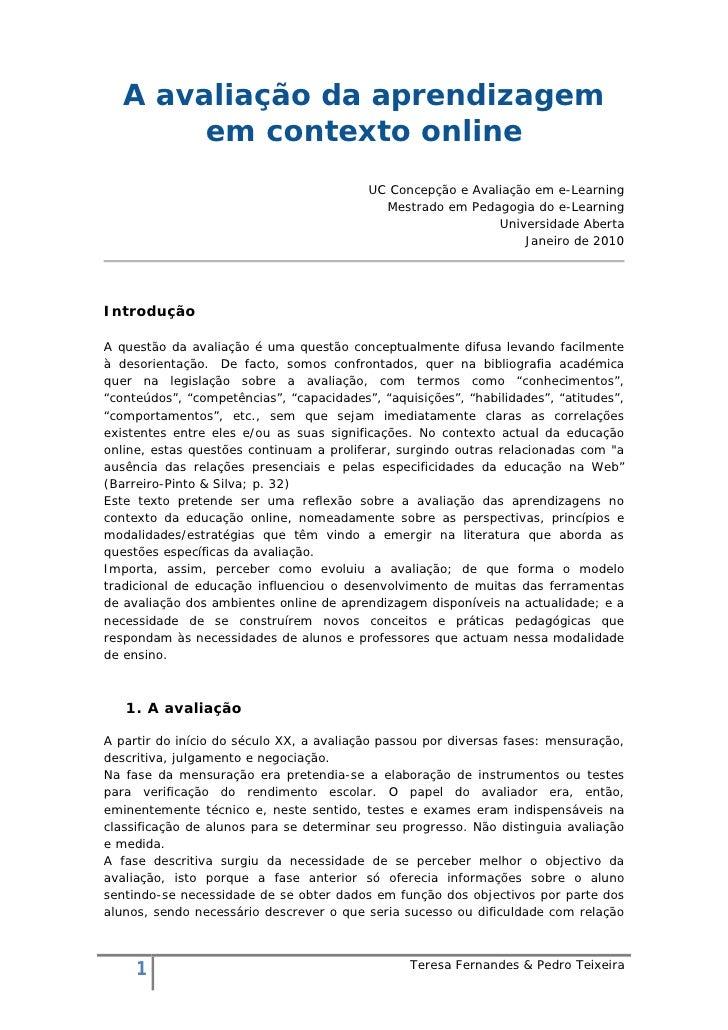 A avaliação da aprendizagem         em contexto online                                           UC Concepção e Avaliação ...