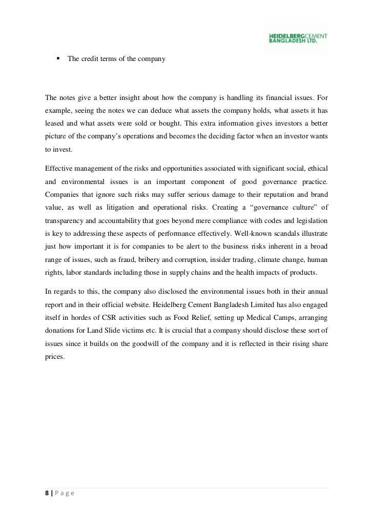 Financial analysis of heidelberg cement bd