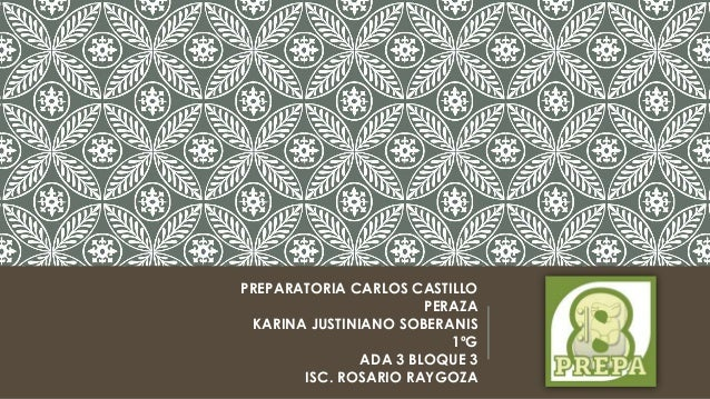 PREPARATORIA CARLOS CASTILLO PERAZA KARINA JUSTINIANO SOBERANIS 1ºG ADA 3 BLOQUE 3 ISC. ROSARIO RAYGOZA