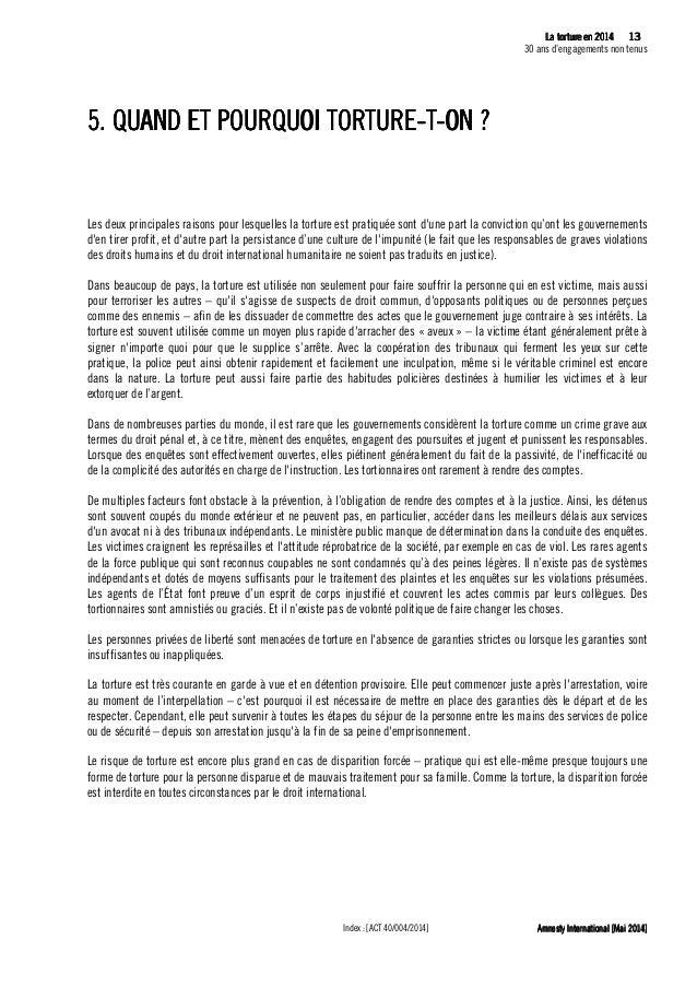 14 La tLa tLa tLa tortureortureortureorture eeeen 2014n 2014n 2014n 2014 30 ans d'engagements non tenus Amnesty Internatio...