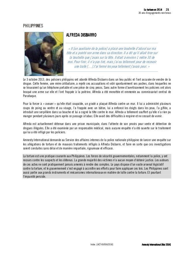 22 La tLa tLa tLa tortureortureortureorture eeeen 2014n 2014n 2014n 2014 30 ans d'engagements non tenus Amnesty Internatio...