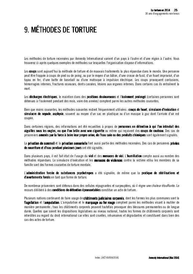 26 La tLa tLa tLa tortureortureortureorture eeeen 2014n 2014n 2014n 2014 30 ans d'engagements non tenus Amnesty Internatio...