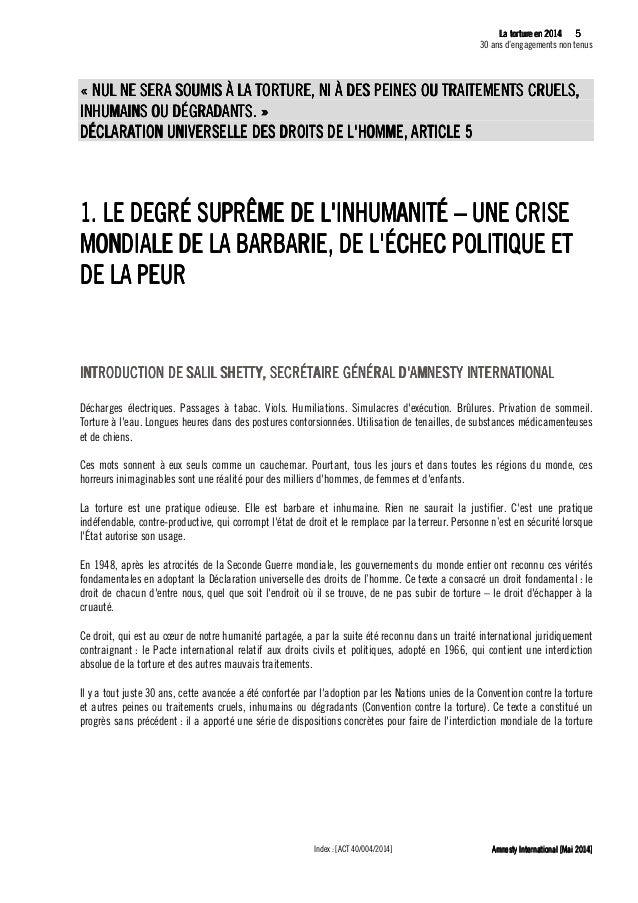 6 La tLa tLa tLa tortureortureortureorture eeeen 2014n 2014n 2014n 2014 30 ans d'engagements non tenus Amnesty Internation...