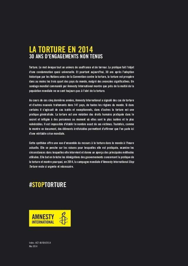 La torture en 2014. 30 ans d'engagements non tenus