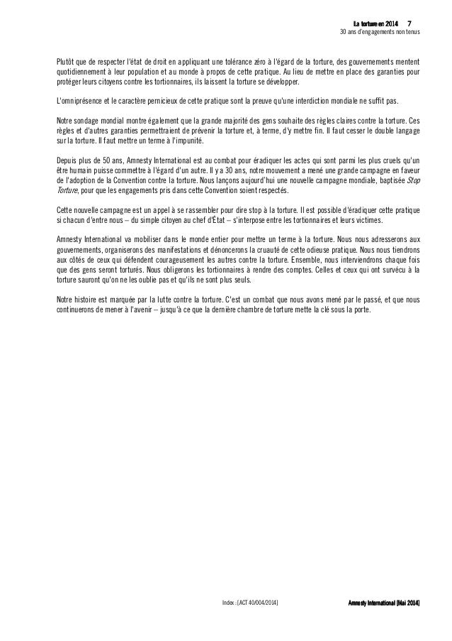 8 La tLa tLa tLa tortureortureortureorture eeeen 2014n 2014n 2014n 2014 30 ans d'engagements non tenus Amnesty Internation...