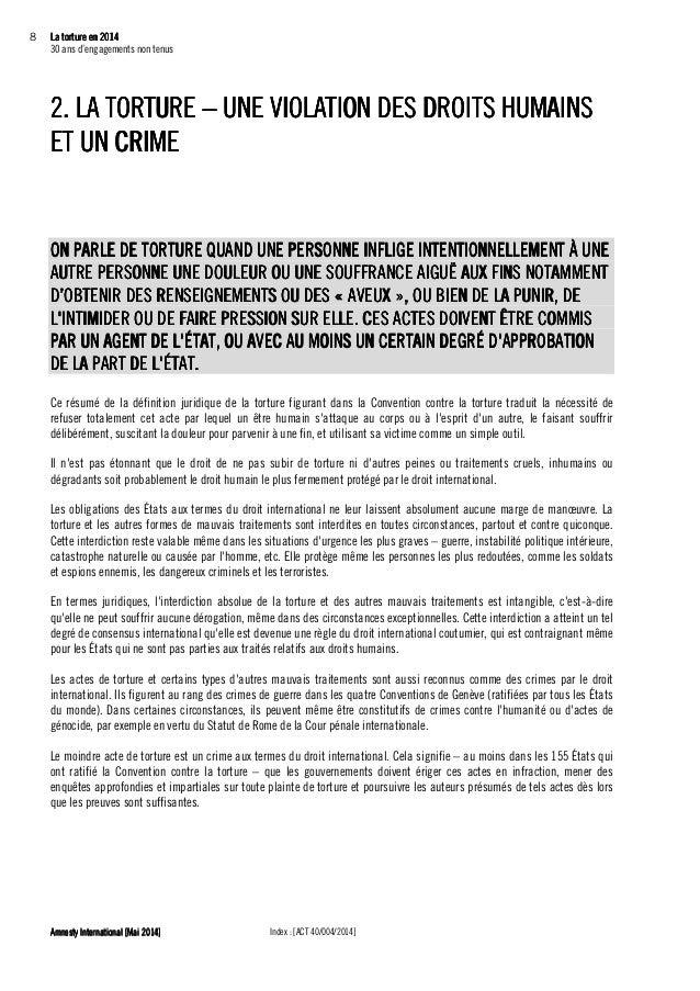 La torture en 2014La torture en 2014La torture en 2014La torture en 2014 9999 30 ans d'engagements non tenus Index : [ACT ...