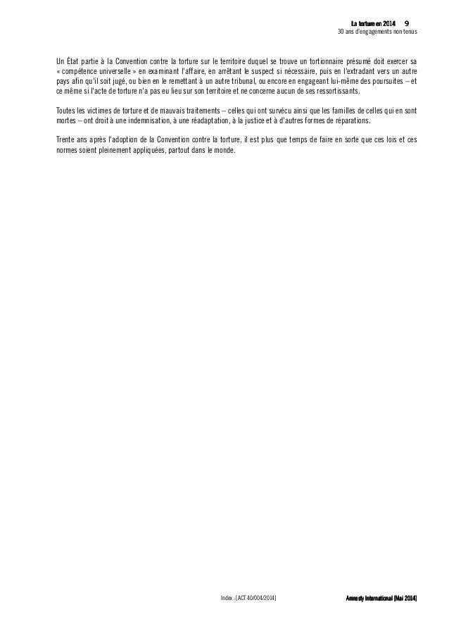 10 La tLa tLa tLa tortureortureortureorture eeeen 2014n 2014n 2014n 2014 30 ans d'engagements non tenus Amnesty Internatio...