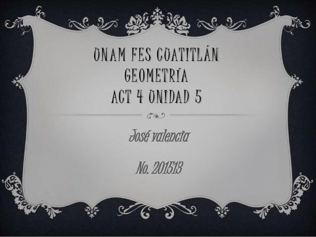 UNAM FES CUATITLÁN GEOMETRÍA ACT 4 UNIDAD 5 José valencia No. 201513