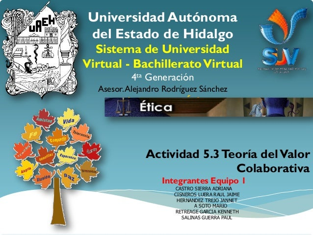 Universidad Autónomadel Estado de Hidalgo  Sistema de UniversidadVirtual - Bachillerato Virtual           4ta Generación  ...
