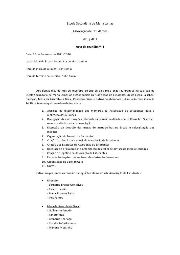 Acta 1ª. Reunião - 15/02/2011