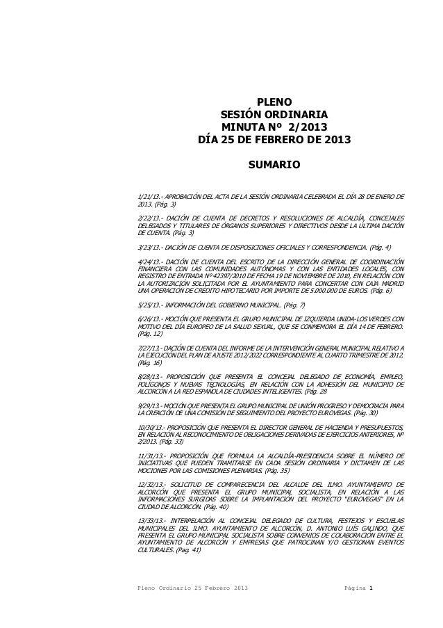 PLENO SESIÓN ORDINARIA MINUTA Nº 2/2013 DÍA 25 DE FEBRERO DE 2013 SUMARIO 1/21/13.- APROBACIÓN DEL ACTA DE LA SESIÓN ORDIN...