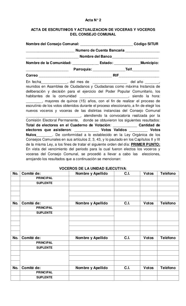Acta N° 2 ACTA DE ESCRUTINIOS Y ACTUALIZACION DE VOCERAS Y VOCEROS DEL CONSEJO COMUNAL Nombre del Consejo Comunal: _______...