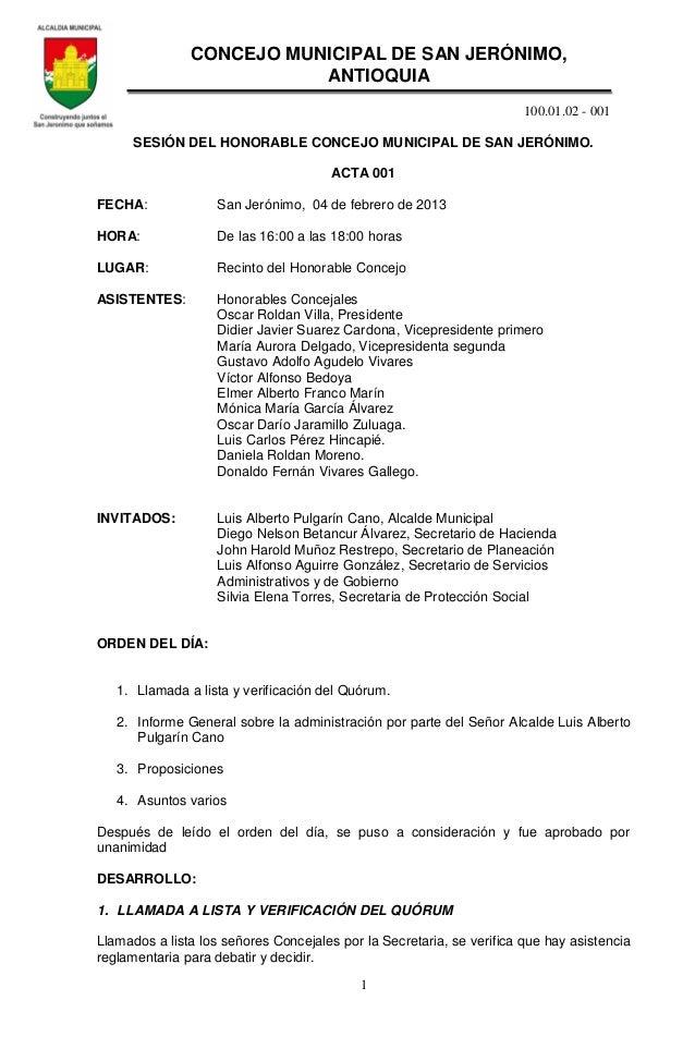100.01.02 - 0011SESIÓN DEL HONORABLE CONCEJO MUNICIPAL DE SAN JERÓNIMO.ACTA 001FECHA: San Jerónimo, 04 de febrero de 2013H...
