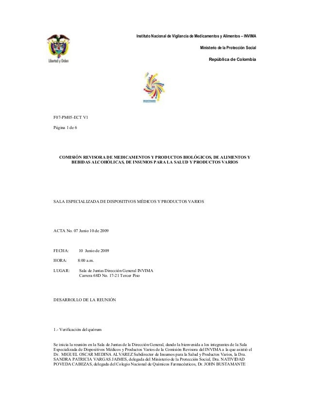 Instituto Nacional de Vigilancia de Medicamentos y Alimentos – INVIMA Ministerio de la Protección Social República de Colo...