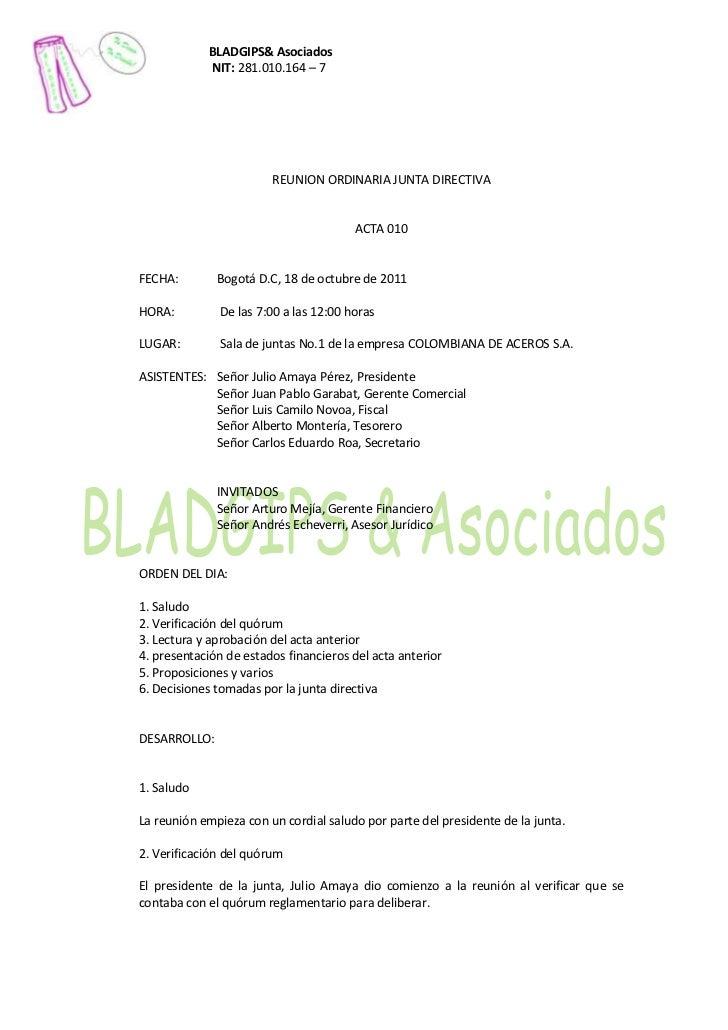 BLADGIPS& Asociados            NIT: 281.010.164 – 7                        REUNION ORDINARIA JUNTA DIRECTIVA              ...