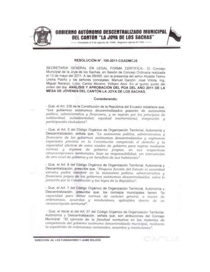 Acta 100 2011 poa aprobado 2011