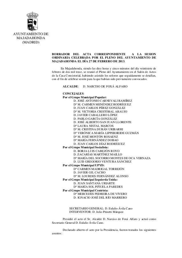 AYUNTAMIENTO DE MAJADAHONDA   (MADRID)                  BORRADOR DEL ACTA CORRESPONDIENTE         A LA SESION             ...