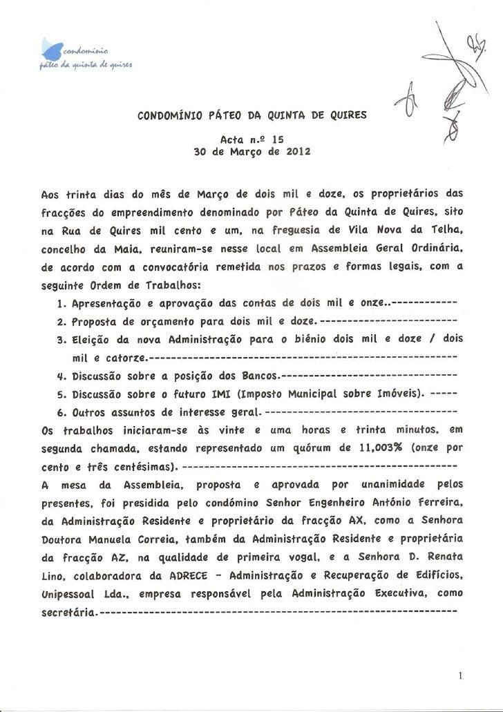 CONDOMiNIOpAfEO DA QUINfA DE QUIRES                                             Acta n.~ 15                               ...