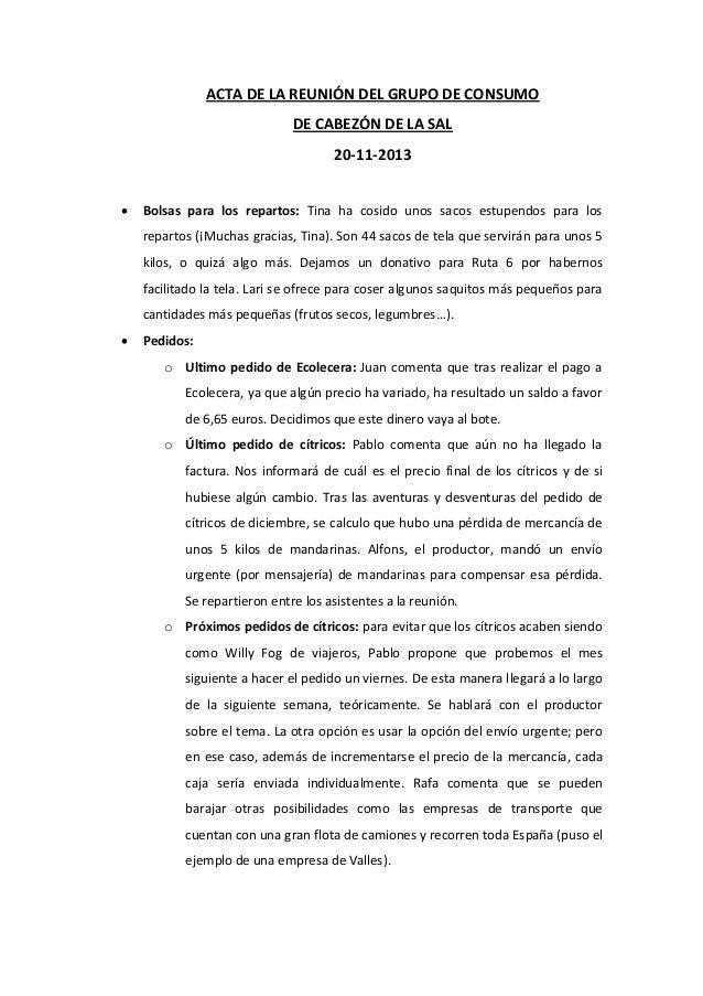 ACTA DE LA REUNIÓN DEL GRUPO DE CONSUMO DE CABEZÓN DE LA SAL 20-11-2013   Bolsas para los repartos: Tina ha cosido unos s...