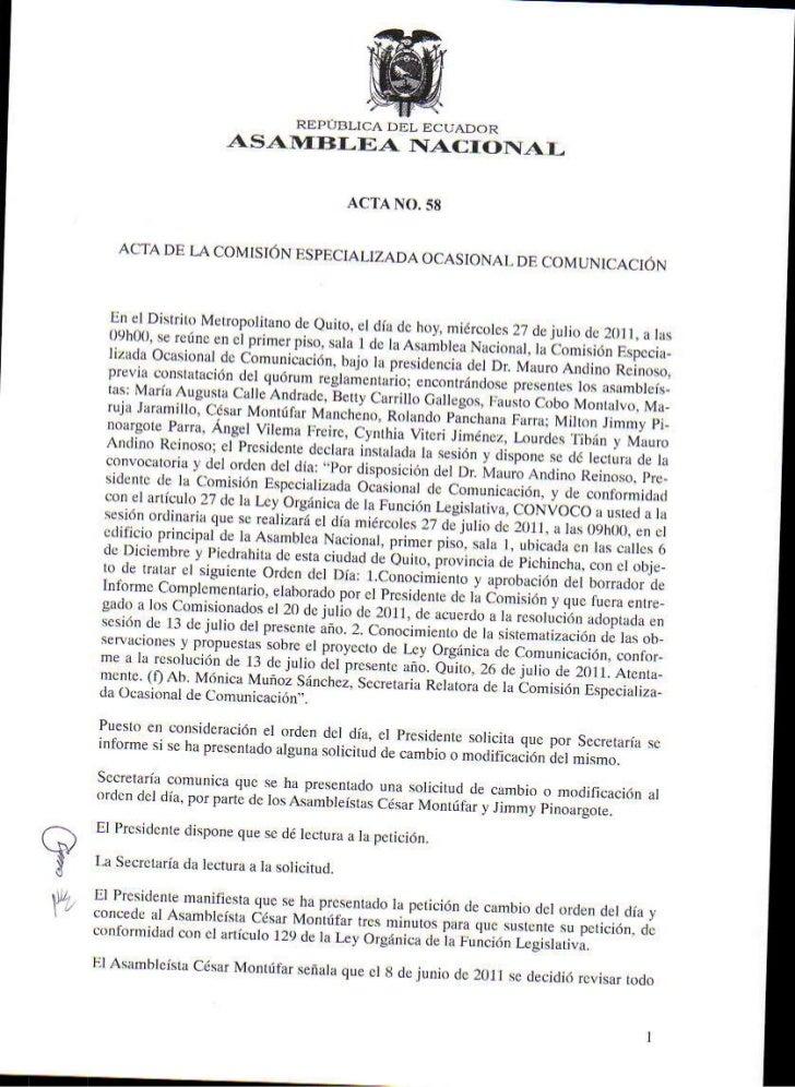 Acta 58 Comisión Ocasional de Comunicación