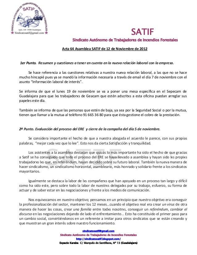SATIF                                   Sindicato Autónomo de Trabajadores de Incendios Forestales                        ...