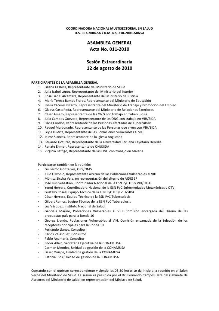 COORDINADORA NACIONAL MULTISECTORIAL EN SALUD                           D.S. 007-2004-SA / R.M. No. 218-2006-MINSA        ...