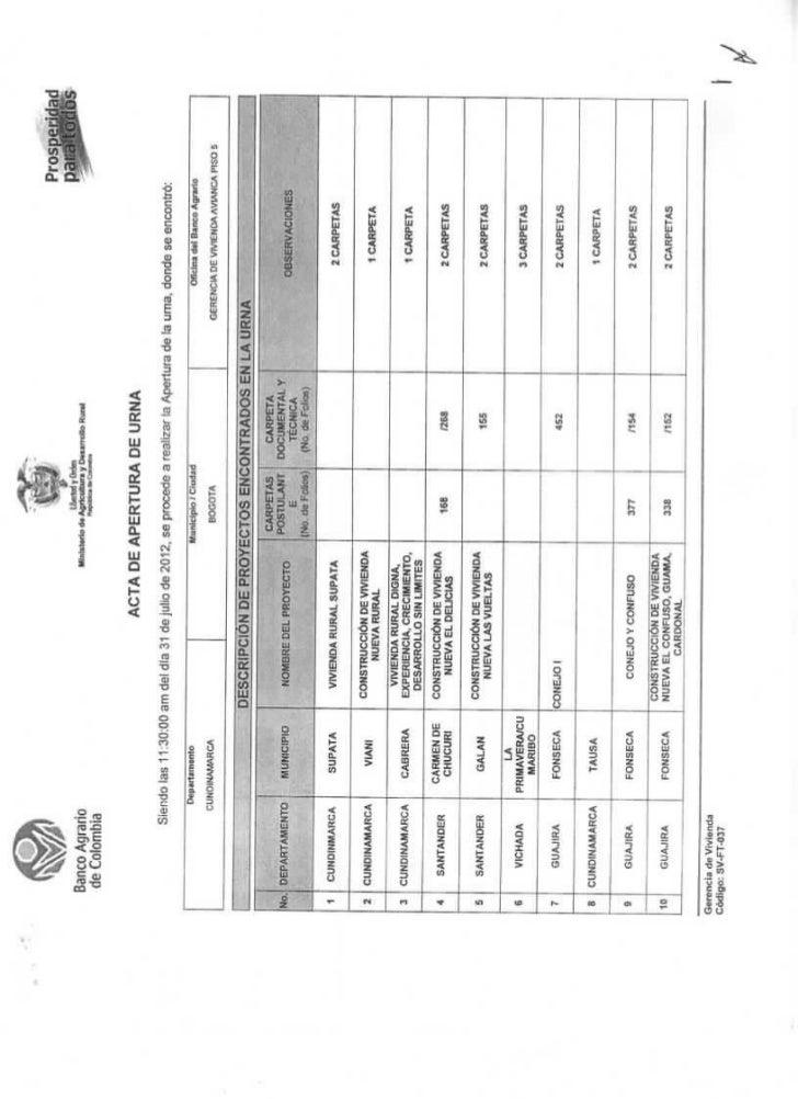 Acta apertura de urna convocatoria 2012 banco agrario