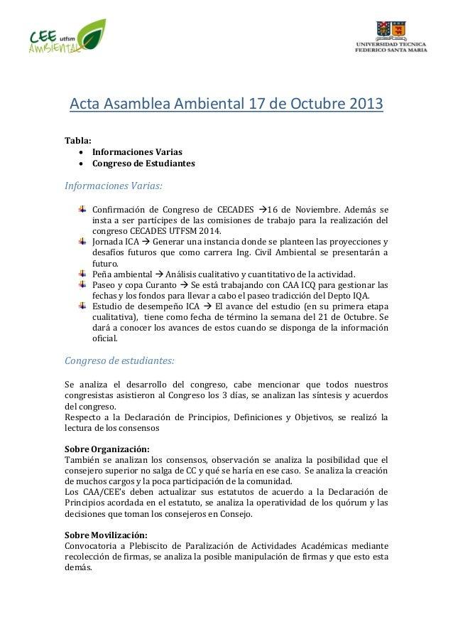 Acta Asamblea Ambiental 17 de Octubre 2013 Tabla:  Informaciones Varias  Congreso de Estudiantes Informaciones Varias: C...