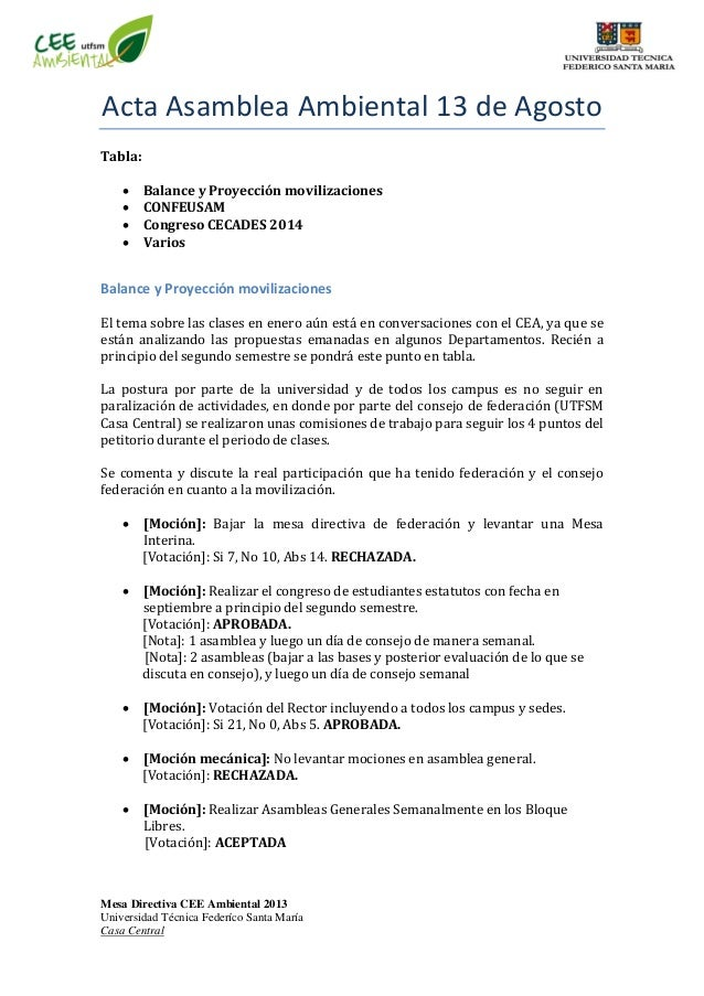 Mesa Directiva CEE Ambiental 2013 Universidad Técnica Federíco Santa María Casa Central Acta Asamblea Ambiental 13 de Agos...