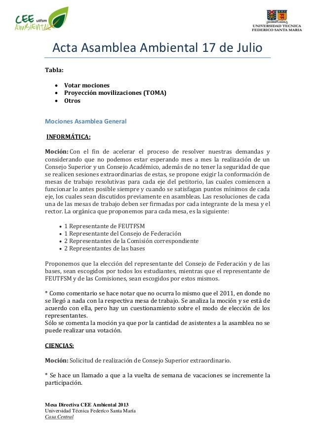 Mesa Directiva CEE Ambiental 2013 Universidad Técnica Federíco Santa María Casa Central Acta Asamblea Ambiental 17 de Juli...