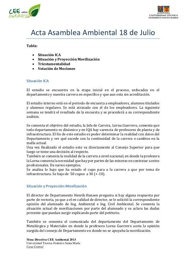 Mesa Directiva CEE Ambiental 2013 Universidad Técnica Federíco Santa María Casa Central Acta Asamblea Ambiental 18 de Juli...