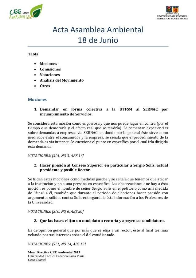 Mesa Directiva CEE Ambiental 2013 Universidad Técnica Federíco Santa María Casa Central Acta Asamblea Ambiental 18 de Juni...
