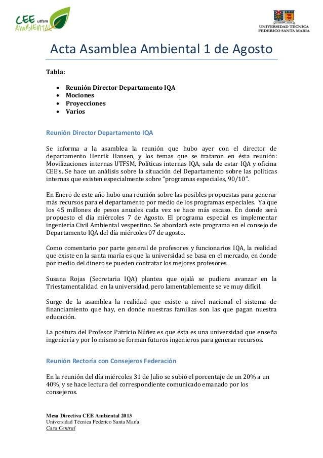 Mesa Directiva CEE Ambiental 2013 Universidad Técnica Federíco Santa María Casa Central Acta Asamblea Ambiental 1 de Agost...
