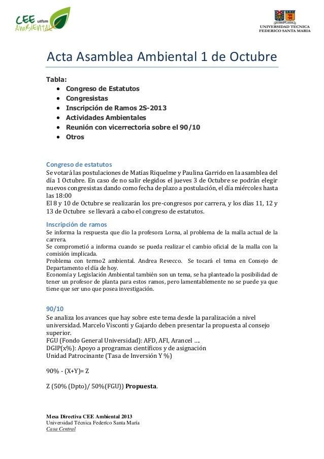 Mesa Directiva CEE Ambiental 2013 Universidad Técnica Federíco Santa María Casa Central Acta Asamblea Ambiental 1 de Octub...