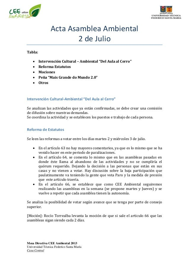 Mesa Directiva CEE Ambiental 2013 Universidad Técnica Federíco Santa María Casa Central Acta Asamblea Ambiental 2 de Julio...