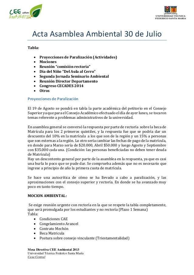 Mesa Directiva CEE Ambiental 2013 Universidad Técnica Federíco Santa María Casa Central Acta Asamblea Ambiental 30 de Juli...