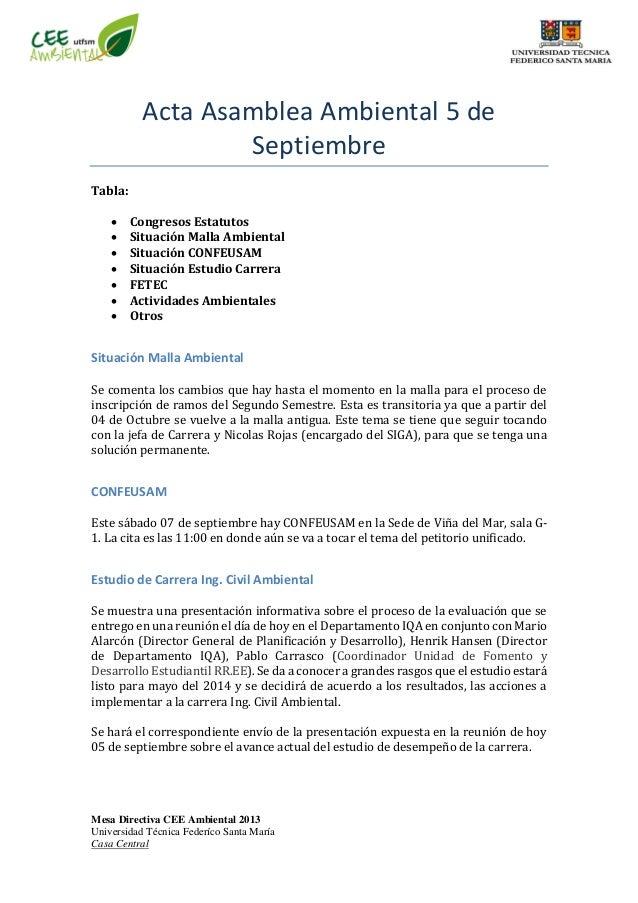 Mesa Directiva CEE Ambiental 2013 Universidad Técnica Federíco Santa María Casa Central Acta Asamblea Ambiental 5 de Septi...