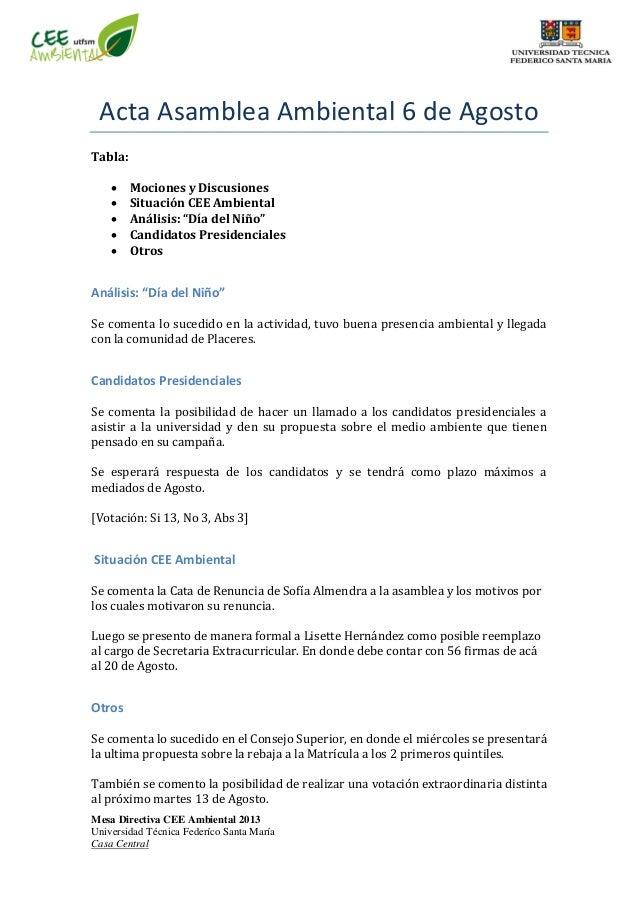 Mesa Directiva CEE Ambiental 2013 Universidad Técnica Federíco Santa María Casa Central Acta Asamblea Ambiental 6 de Agost...