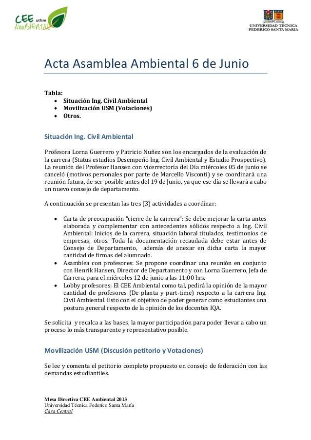Mesa Directiva CEE Ambiental 2013 Universidad Técnica Federíco Santa María Casa Central Acta Asamblea Ambiental 6 de Junio...