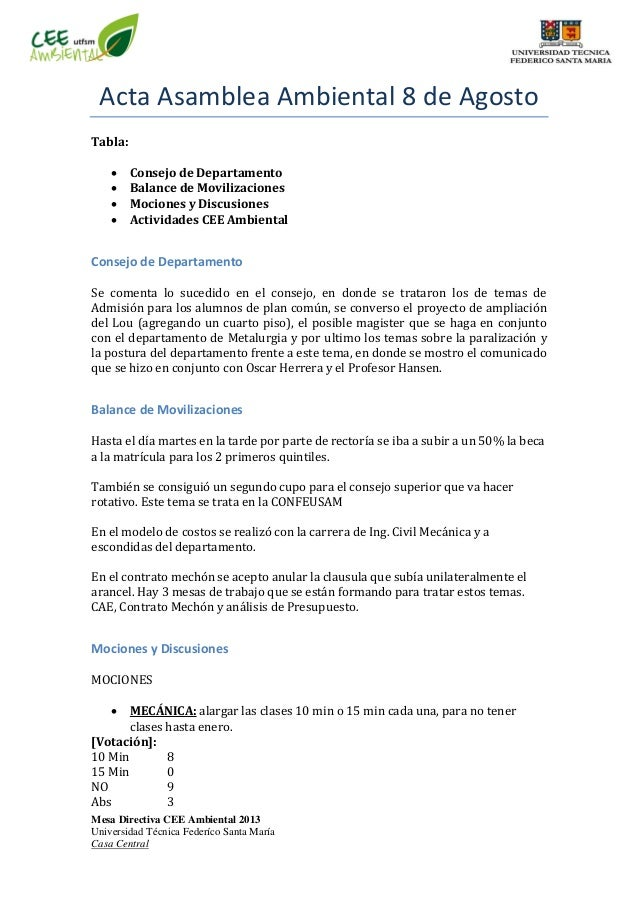 Mesa Directiva CEE Ambiental 2013 Universidad Técnica Federíco Santa María Casa Central Acta Asamblea Ambiental 8 de Agost...