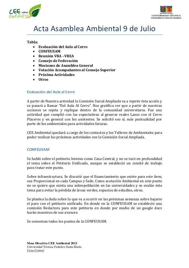 Mesa Directiva CEE Ambiental 2013 Universidad Técnica Federíco Santa María Casa Central Acta Asamblea Ambiental 9 de Julio...