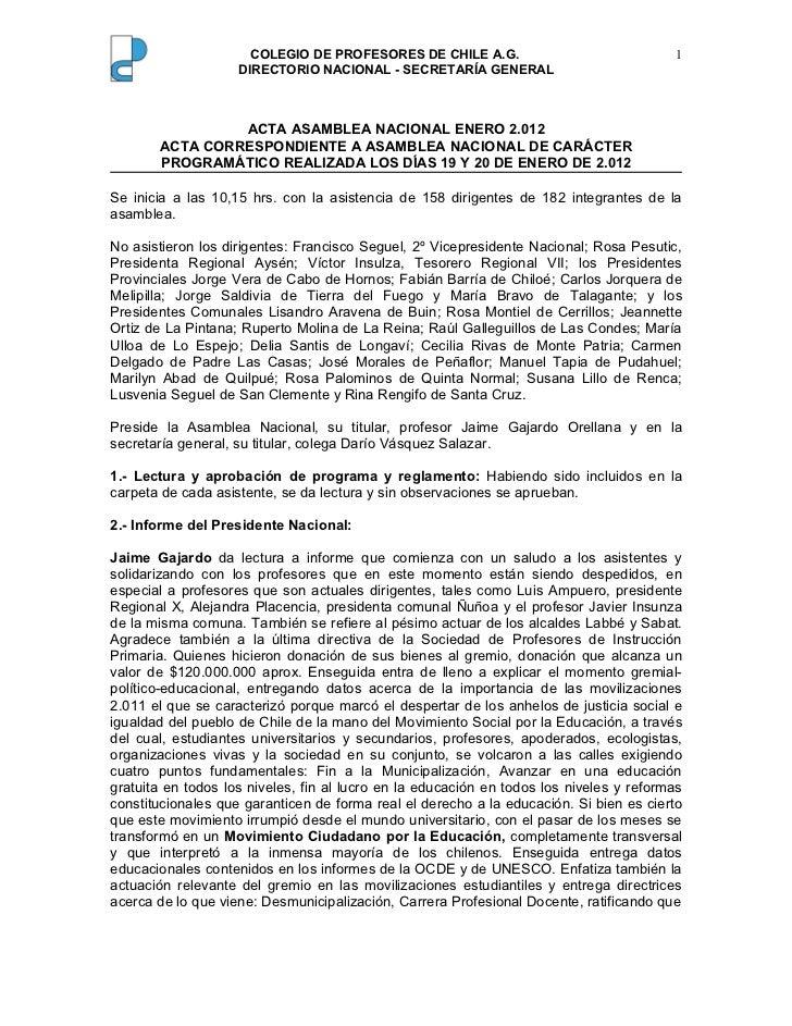 Acta asamblea nacional enero 2012