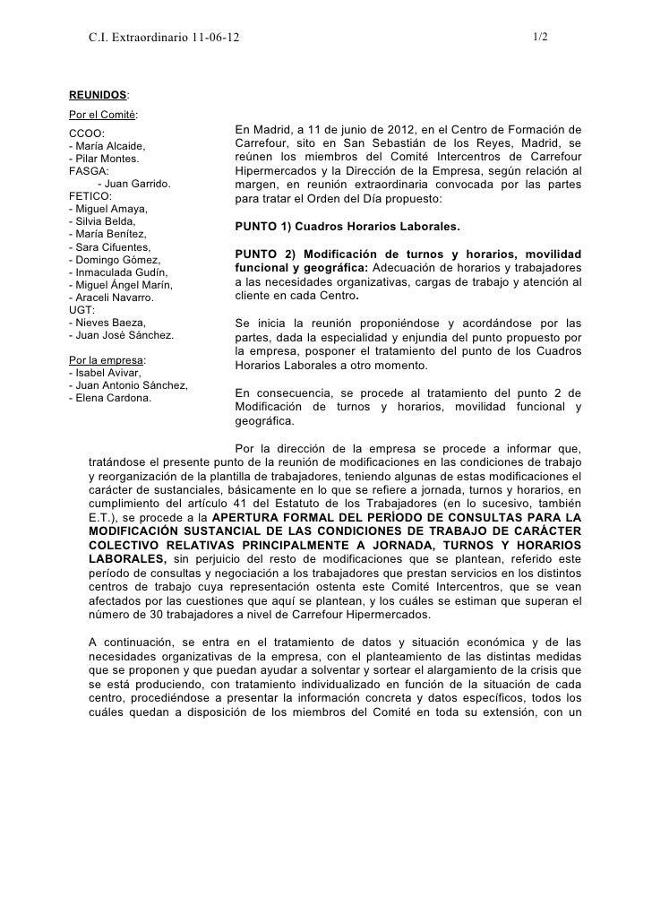 C.I. Extraordinario 11-06-12                                                       1/2REUNIDOS:Por el Comité:CCOO:        ...