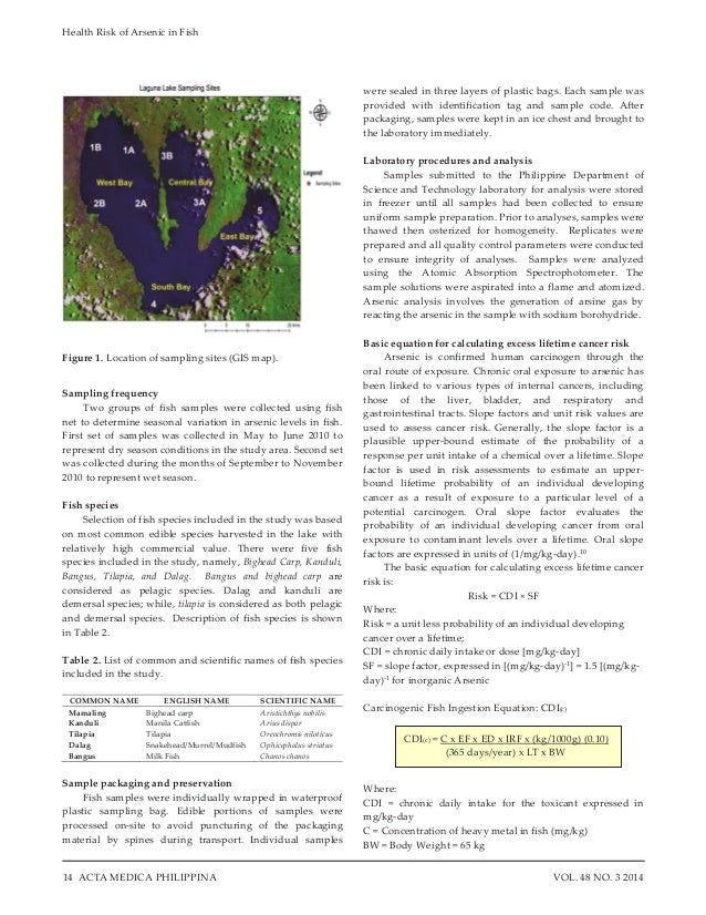 Health Risk of Arsenic in Fish 14 VOL. 48 NO. 3 2014ACTA MEDICA PHILIPPINA Figure 1. Location of sampling sites (GIS map)....